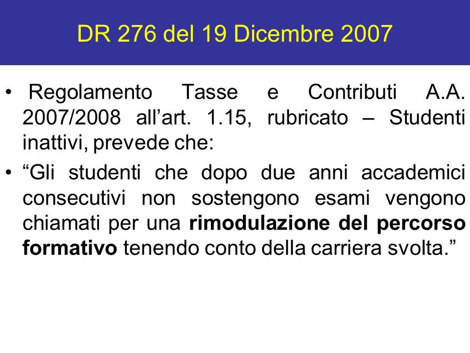 DR 276 del 19 Dicembre 2007 Regolamento Tasse e Contributi A.A. 2007/2008 all'art. 1.15, rubricato – Studenti inattivi, prevede che: