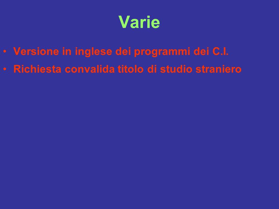 Varie Versione in inglese dei programmi dei C.I.