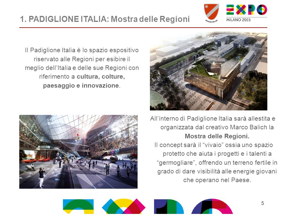 1. PADIGLIONE ITALIA: Mostra delle Regioni