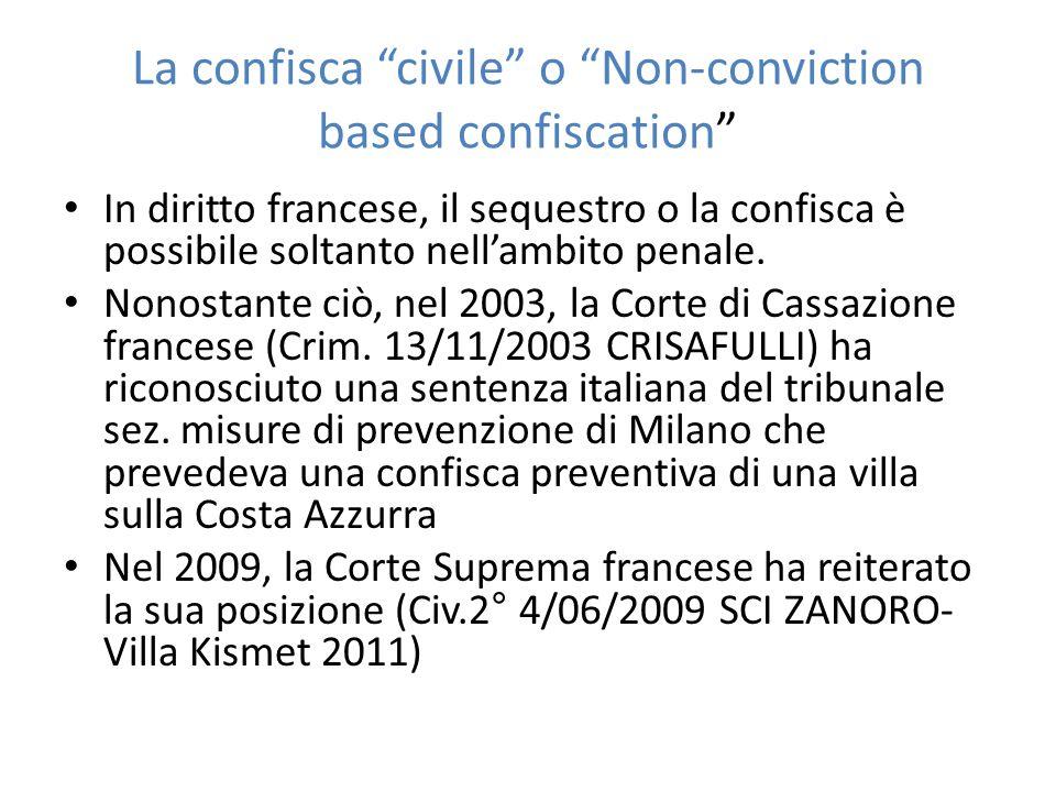 La confisca civile o Non-conviction based confiscation