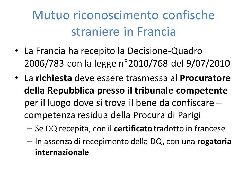 Mutuo riconoscimento confische straniere in Francia