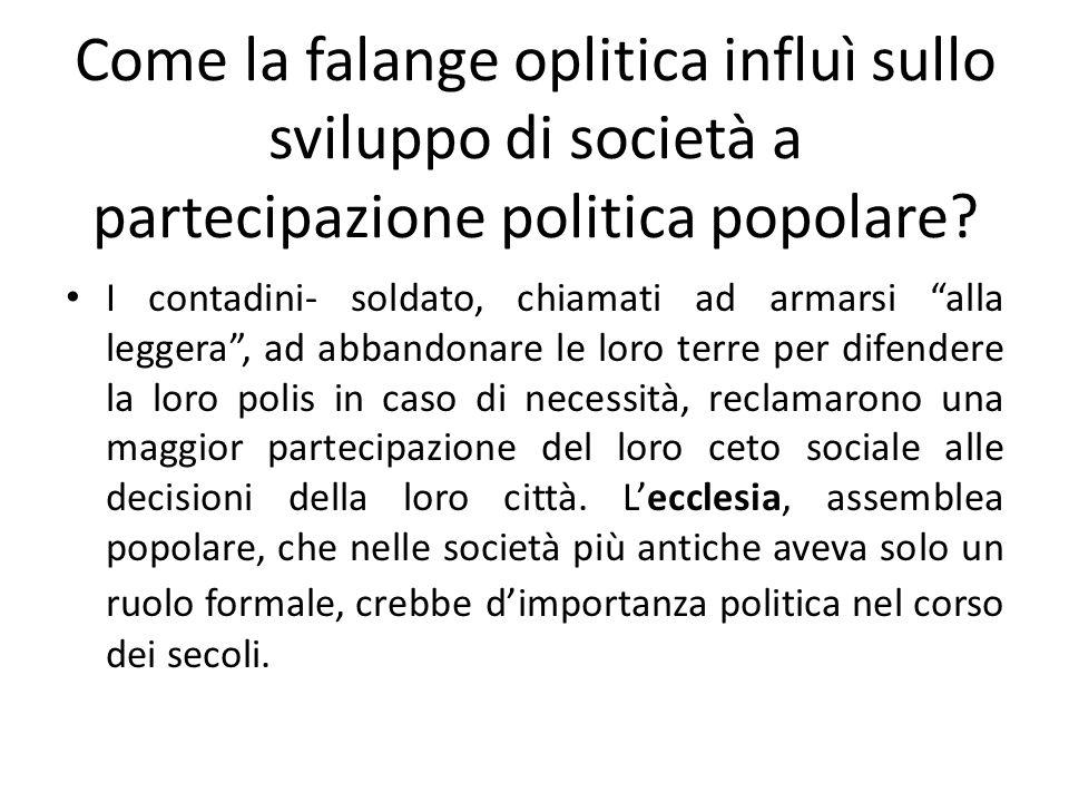 Come la falange oplitica influì sullo sviluppo di società a partecipazione politica popolare