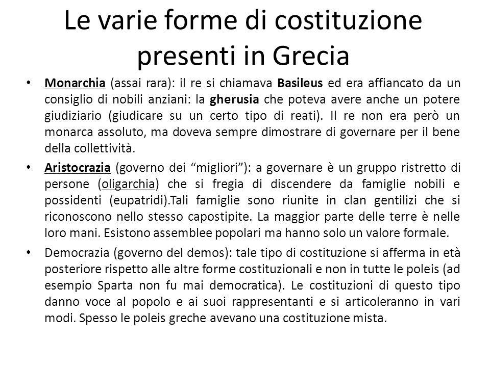 Le varie forme di costituzione presenti in Grecia