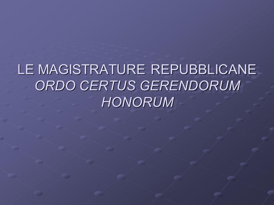 LE MAGISTRATURE REPUBBLICANE ORDO CERTUS GERENDORUM HONORUM