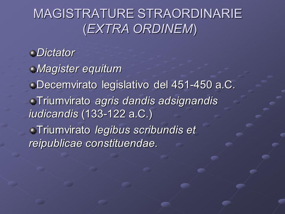 MAGISTRATURE STRAORDINARIE (EXTRA ORDINEM)
