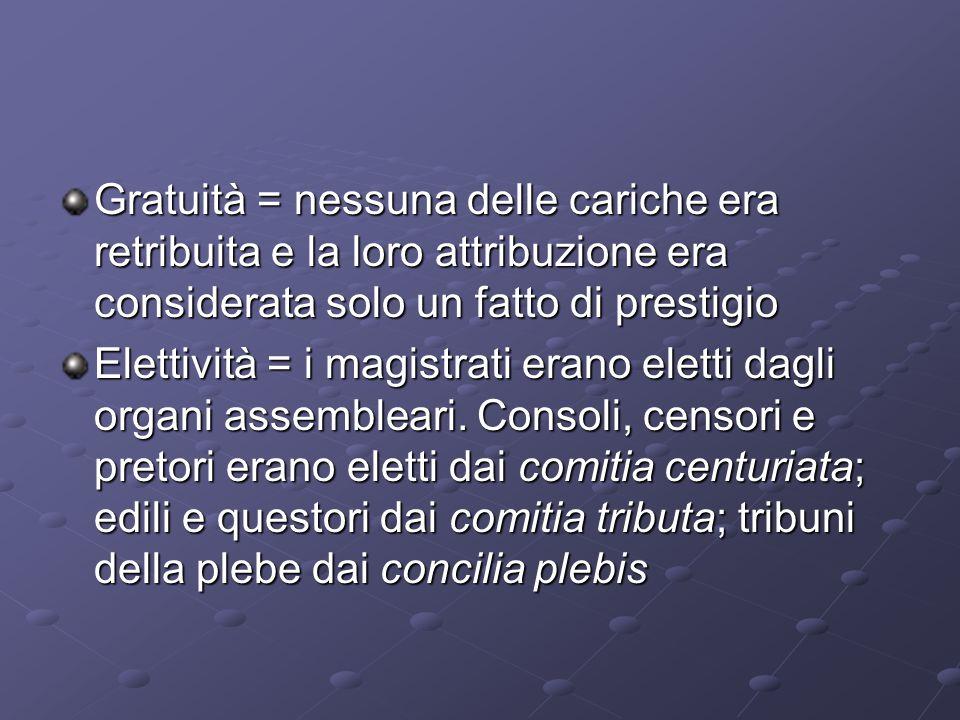 Gratuità = nessuna delle cariche era retribuita e la loro attribuzione era considerata solo un fatto di prestigio