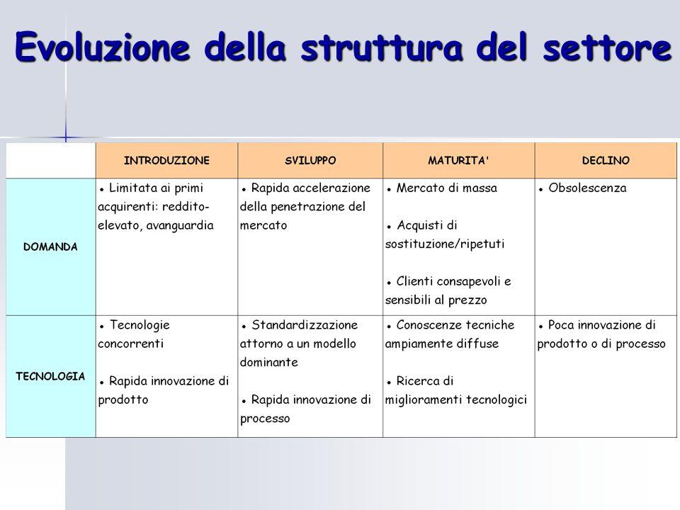 Evoluzione della struttura del settore