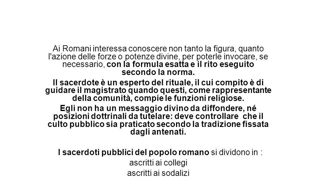 I sacerdoti pubblici del popolo romano si dividono in :