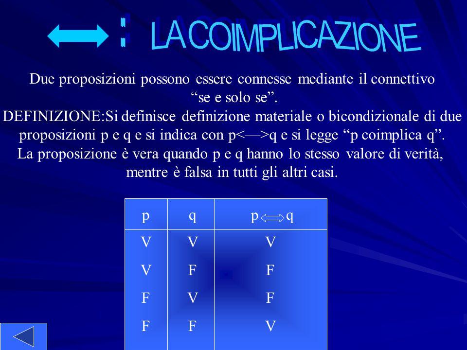 : LA COIMPLICAZIONE. Due proposizioni possono essere connesse mediante il connettivo. se e solo se .