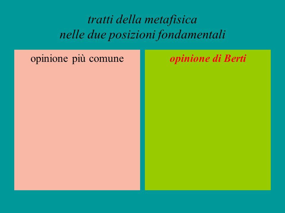tratti della metafisica nelle due posizioni fondamentali