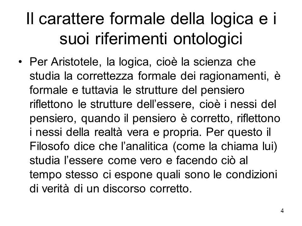 Il carattere formale della logica e i suoi riferimenti ontologici