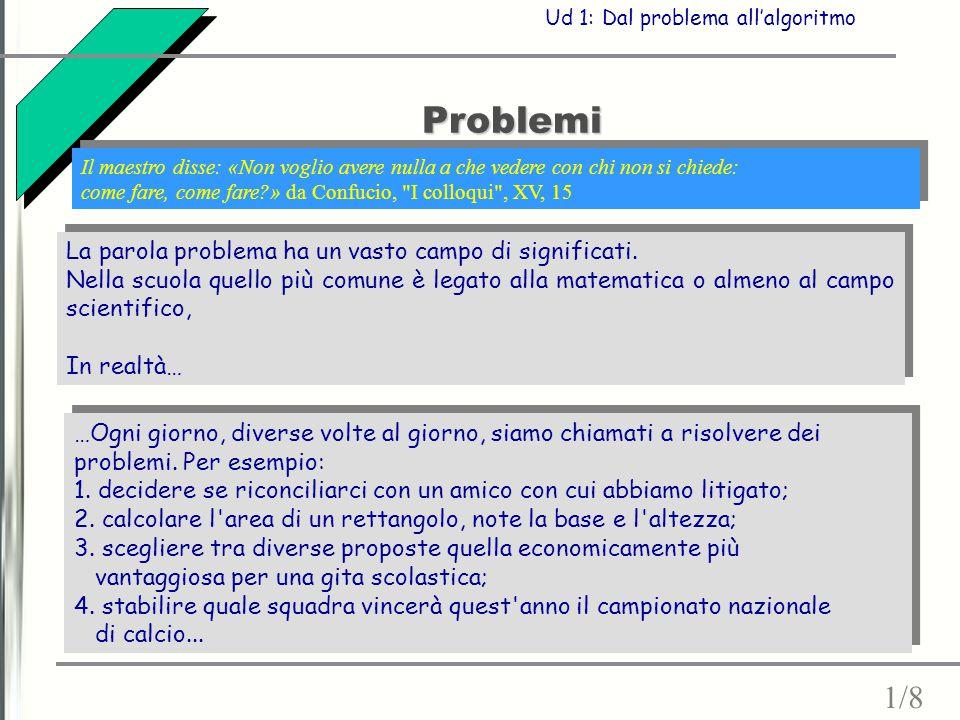 Problemi 1/8 La parola problema ha un vasto campo di significati.