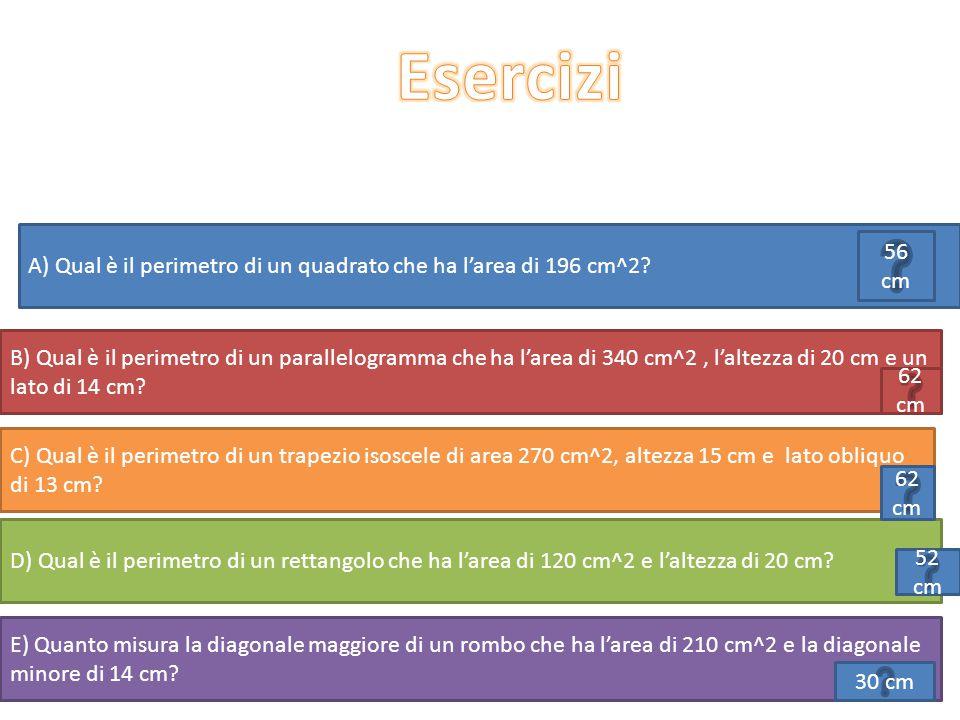 Esercizi A) Qual è il perimetro di un quadrato che ha l'area di 196 cm^2 56 cm.