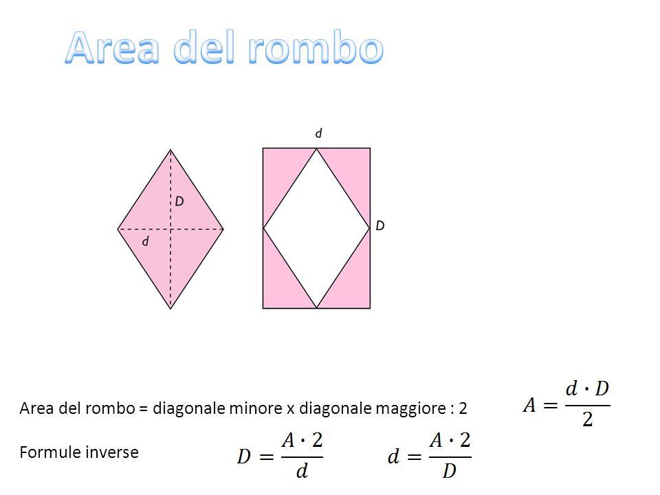 Area del rombo Area del rombo = diagonale minore x diagonale maggiore : 2 Formule inverse