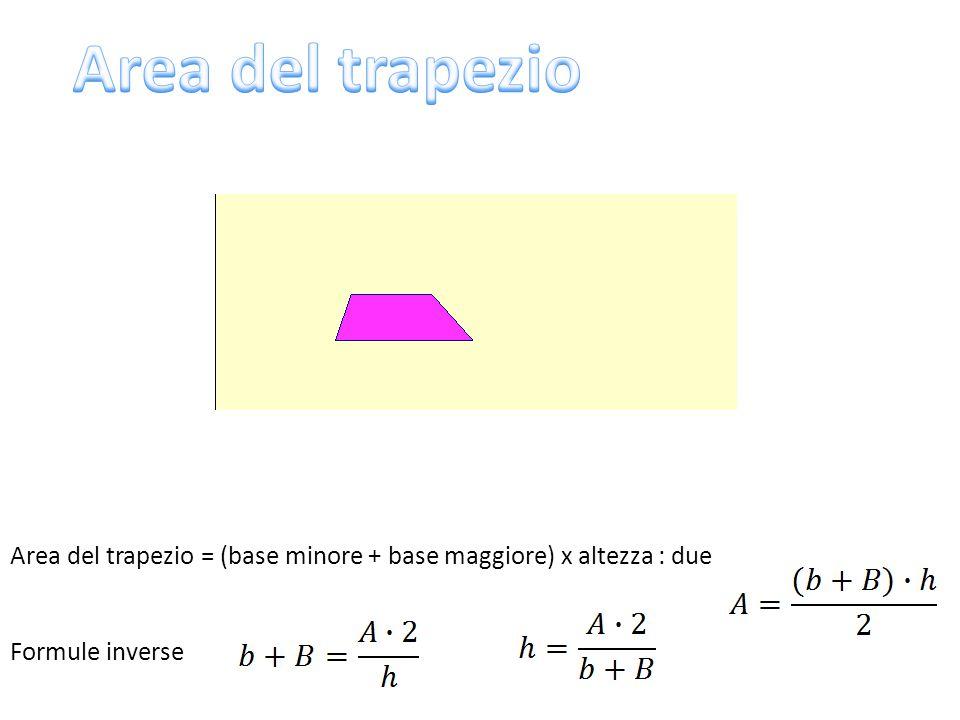 Area del trapezio Area del trapezio = (base minore + base maggiore) x altezza : due Formule inverse