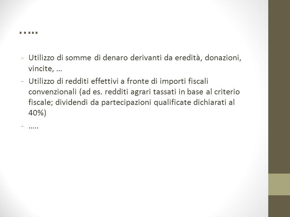 ….. Utilizzo di somme di denaro derivanti da eredità, donazioni, vincite, …
