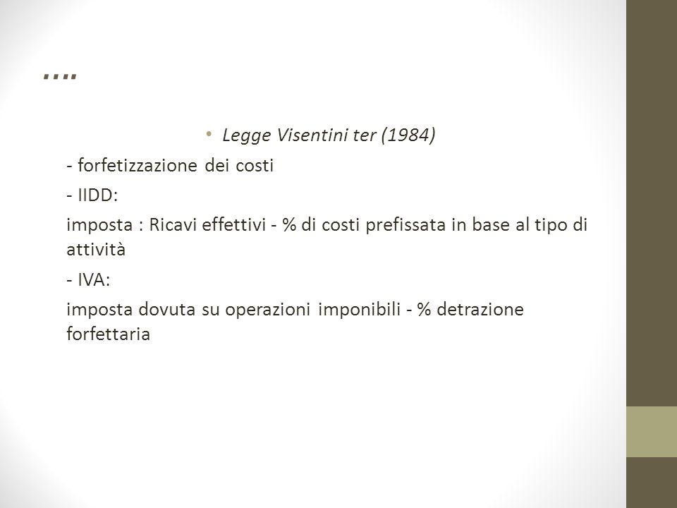 …. Legge Visentini ter (1984) - forfetizzazione dei costi - IIDD: