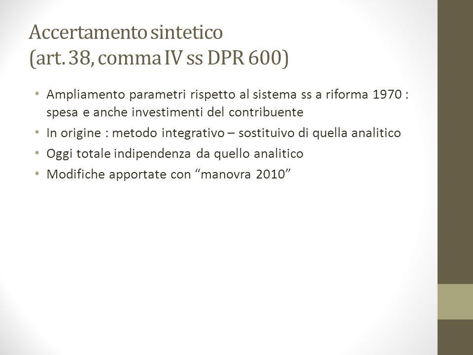 Accertamento sintetico (art. 38, comma IV ss DPR 600)