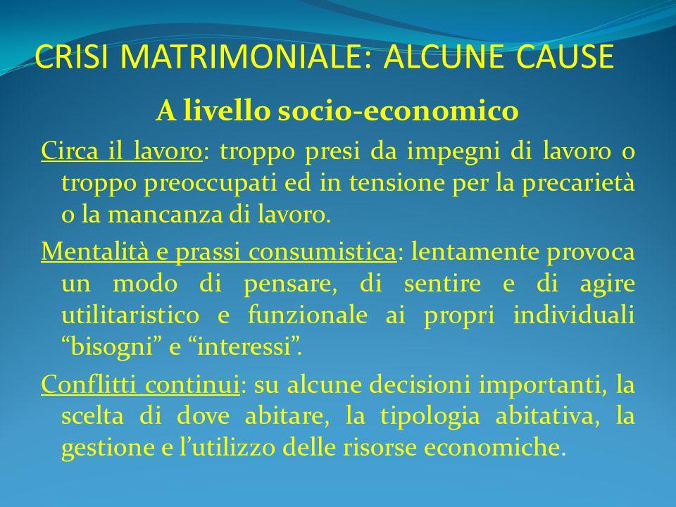 CRISI MATRIMONIALE: ALCUNE CAUSE