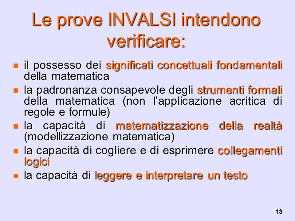 Le prove INVALSI intendono verificare: