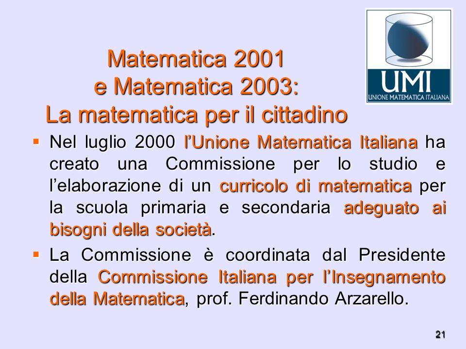 Matematica 2001 e Matematica 2003: La matematica per il cittadino
