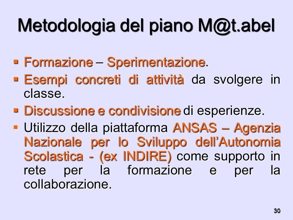 Metodologia del piano M@t.abel