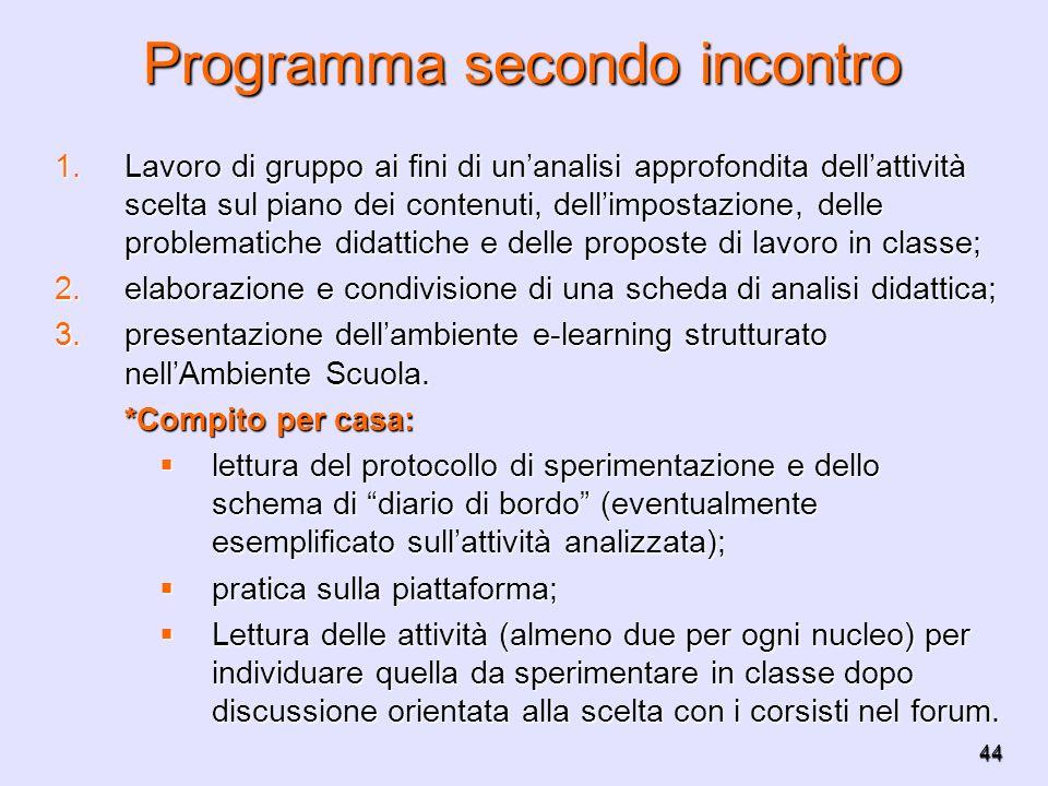 Programma secondo incontro