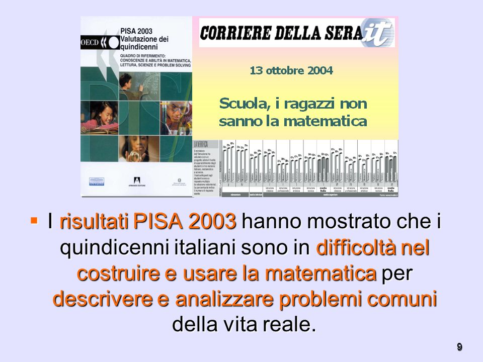 I risultati PISA 2003 hanno mostrato che i quindicenni italiani sono in difficoltà nel costruire e usare la matematica per descrivere e analizzare problemi comuni della vita reale.