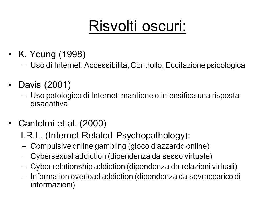 Risvolti oscuri: K. Young (1998) Davis (2001) Cantelmi et al. (2000)