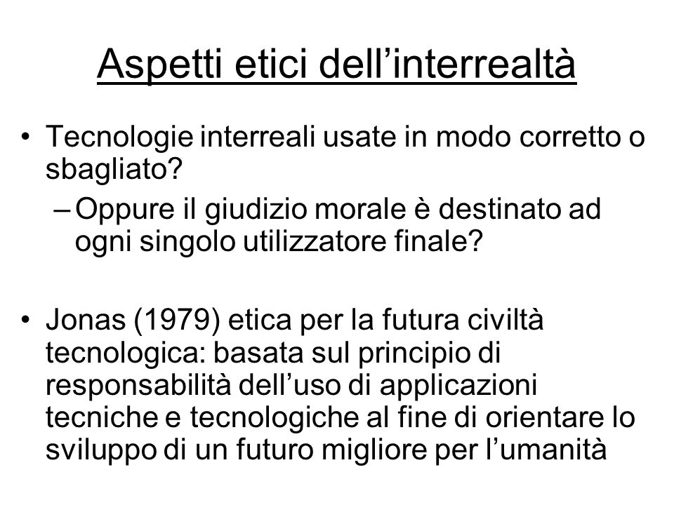 Aspetti etici dell'interrealtà