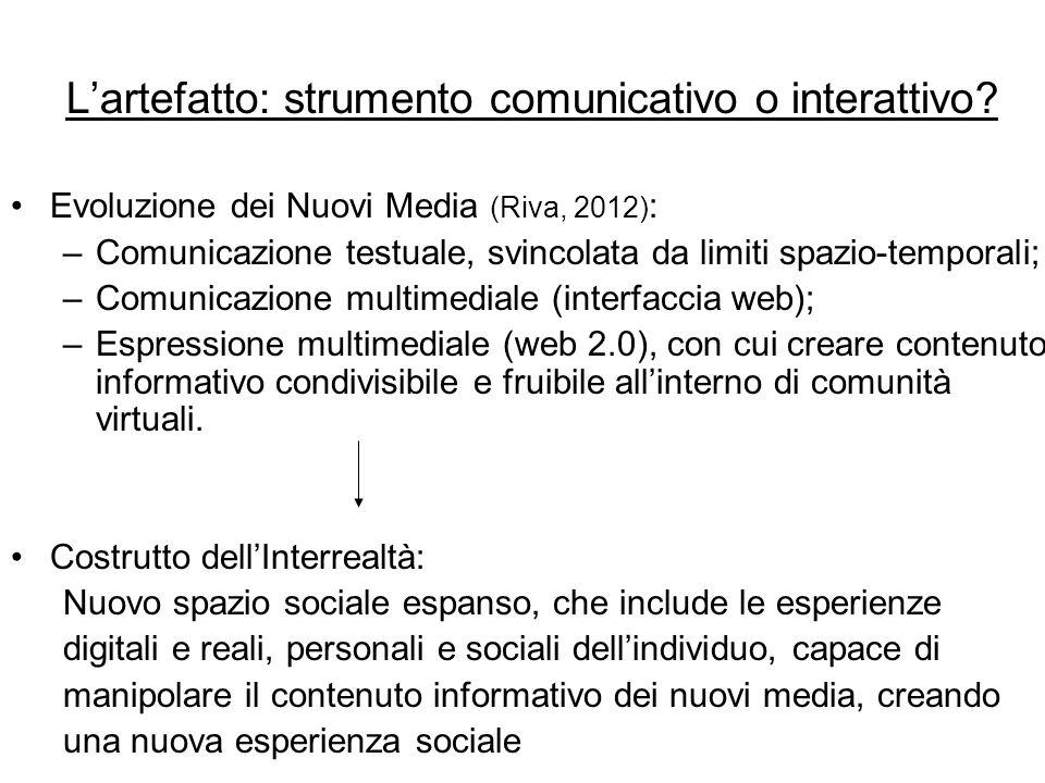 L'artefatto: strumento comunicativo o interattivo