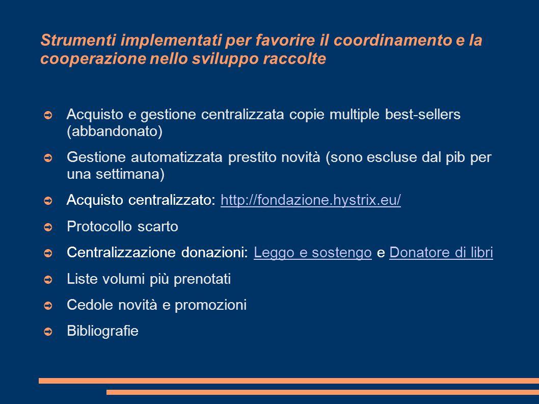Strumenti implementati per favorire il coordinamento e la cooperazione nello sviluppo raccolte