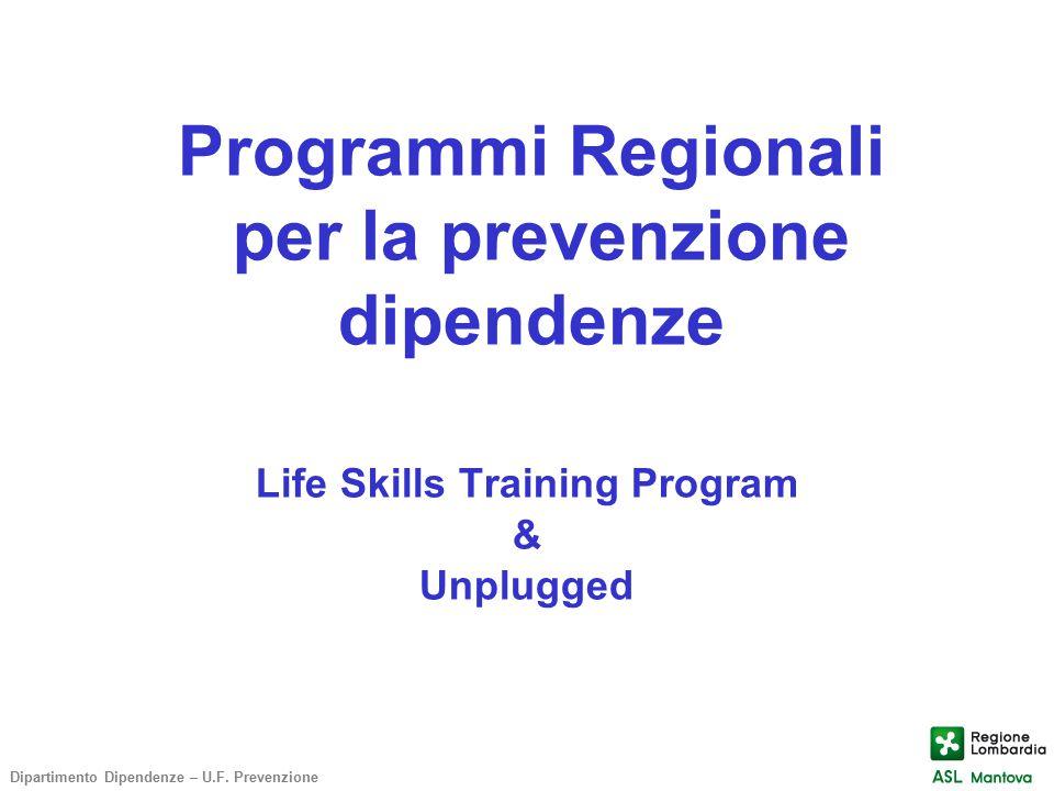 Programmi Regionali per la prevenzione dipendenze