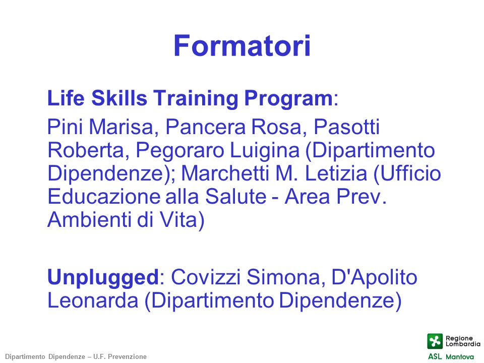 Formatori Life Skills Training Program: