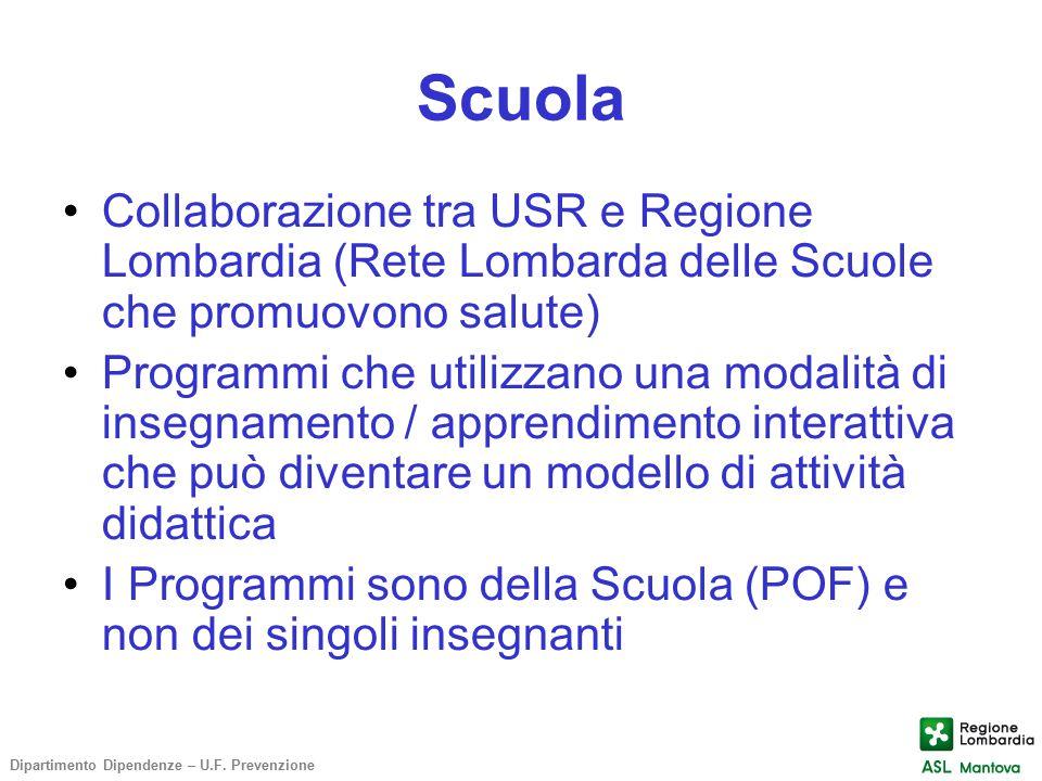 Scuola Collaborazione tra USR e Regione Lombardia (Rete Lombarda delle Scuole che promuovono salute)