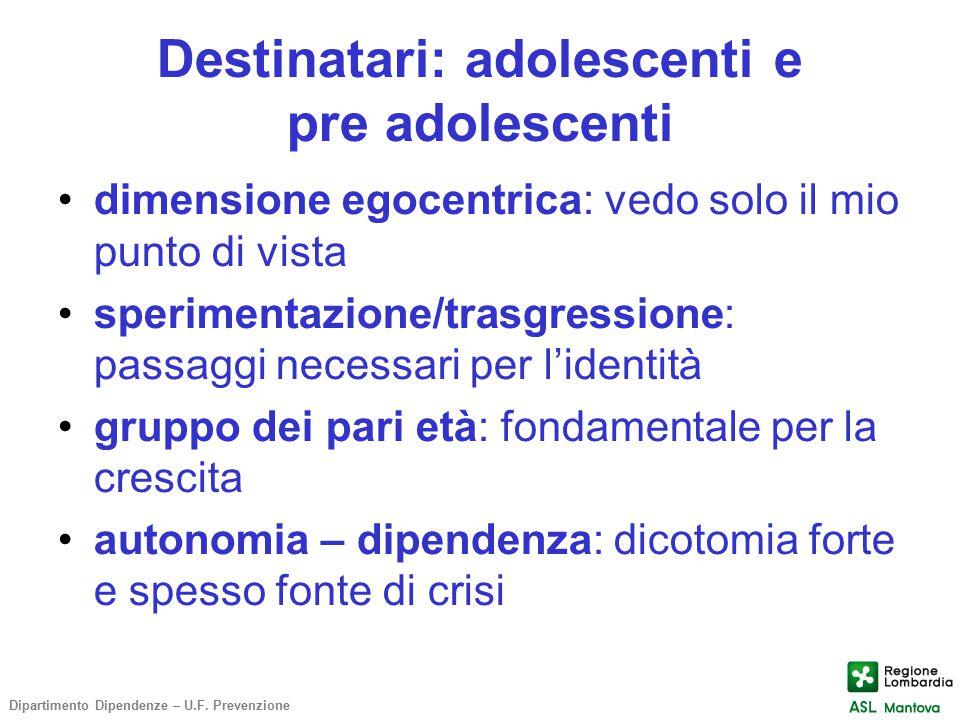 Destinatari: adolescenti e pre adolescenti