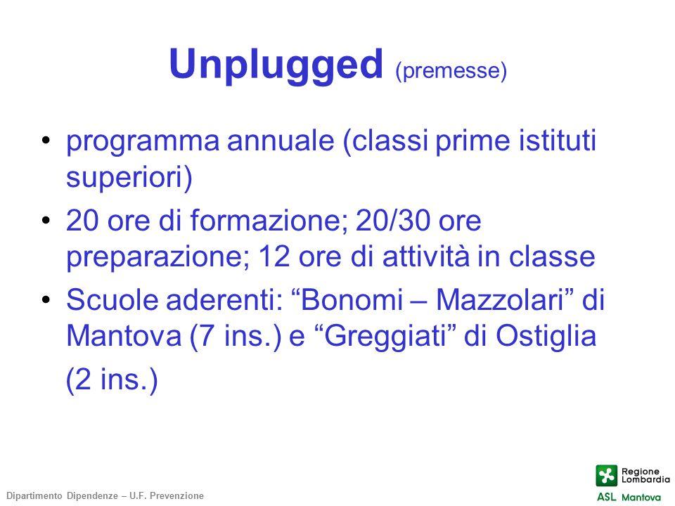 Unplugged (premesse) programma annuale (classi prime istituti superiori)