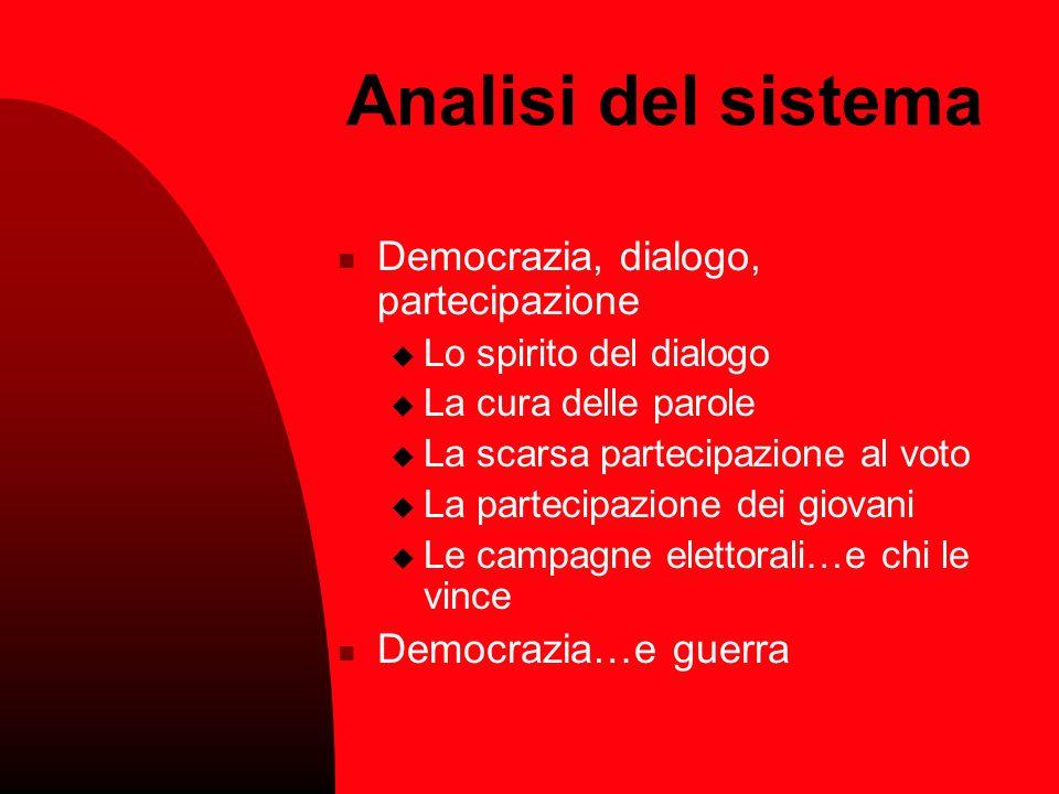 Analisi del sistema Democrazia, dialogo, partecipazione