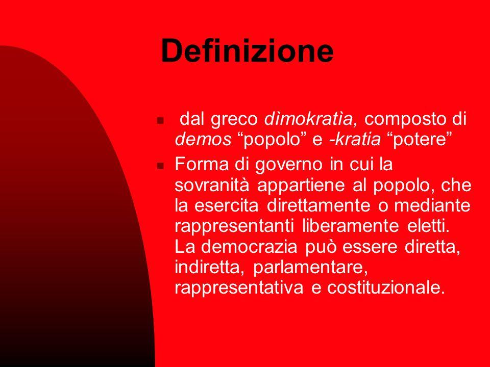 Definizione dal greco dìmokratìa, composto di demos popolo e -kratia potere