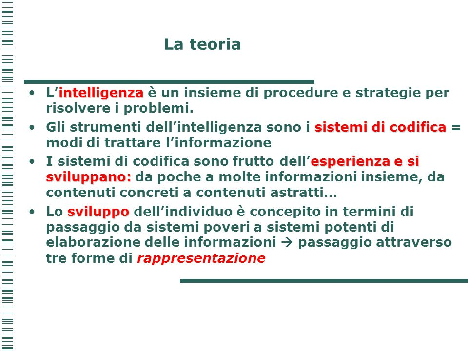 La teoria L'intelligenza è un insieme di procedure e strategie per risolvere i problemi.