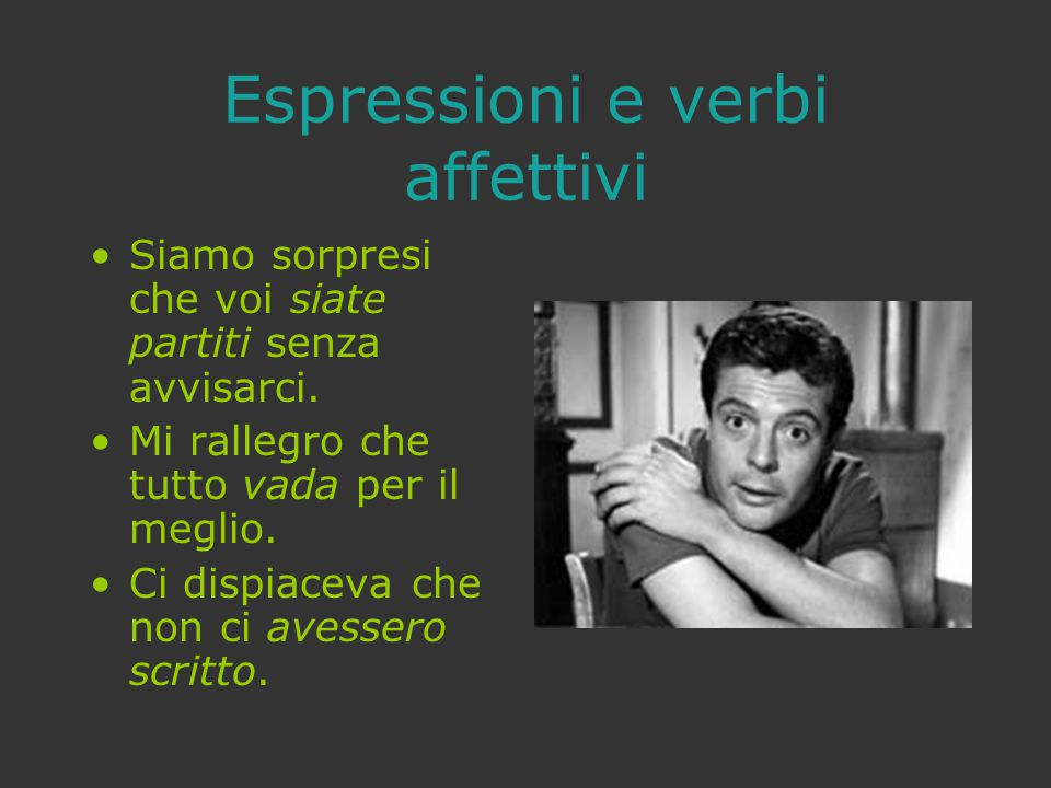 Espressioni e verbi affettivi