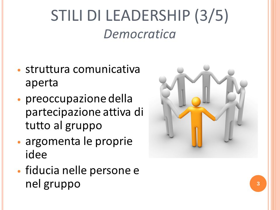 STILI DI LEADERSHIP (3/5) Democratica