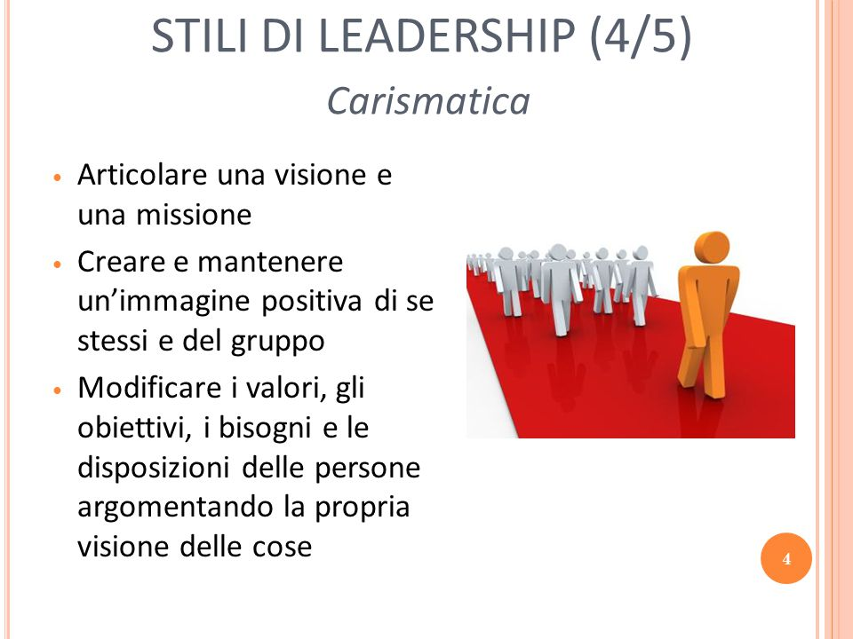 STILI DI LEADERSHIP (4/5) Carismatica