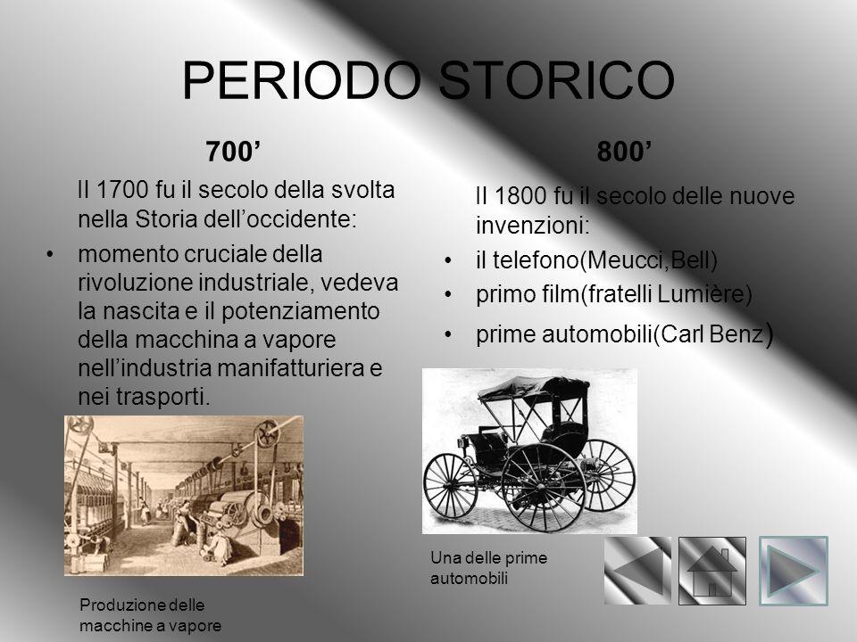 PERIODO STORICO 700' 800' Il 1700 fu il secolo della svolta nella Storia dell'occidente: