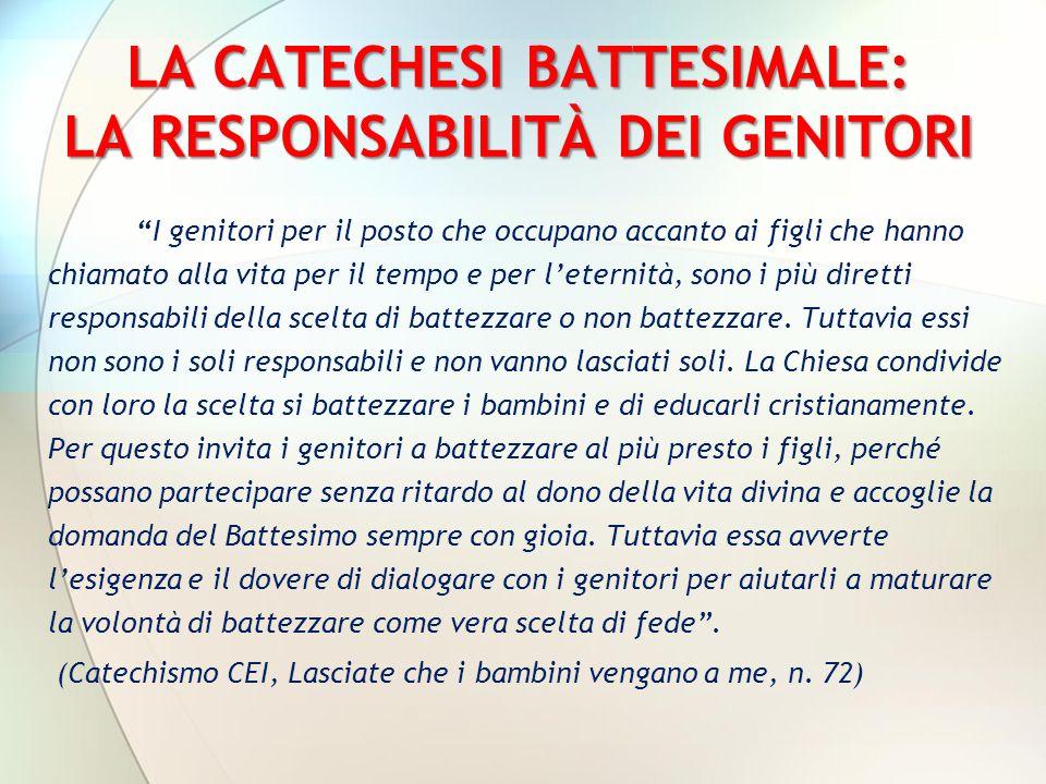 LA CATECHESI BATTESIMALE: LA RESPONSABILITÀ DEI GENITORI