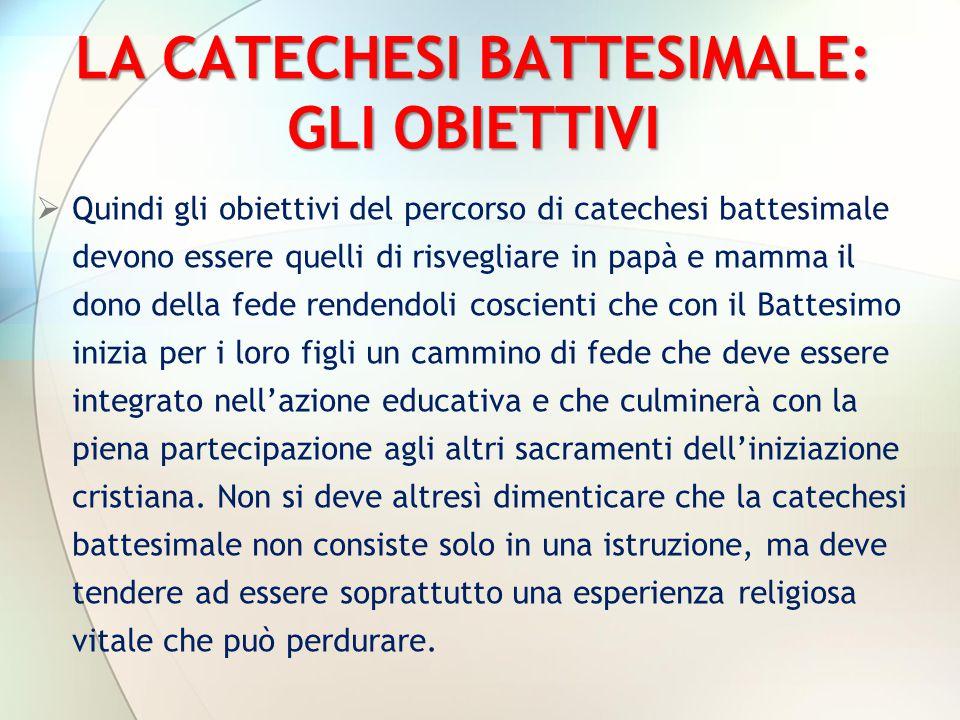 LA CATECHESI BATTESIMALE: GLI OBIETTIVI