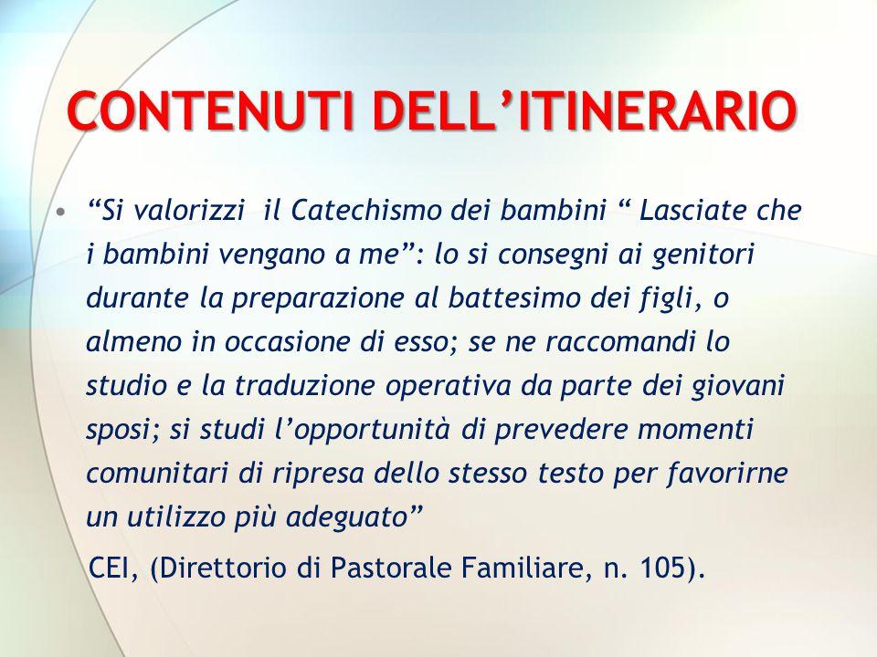 CONTENUTI DELL'ITINERARIO