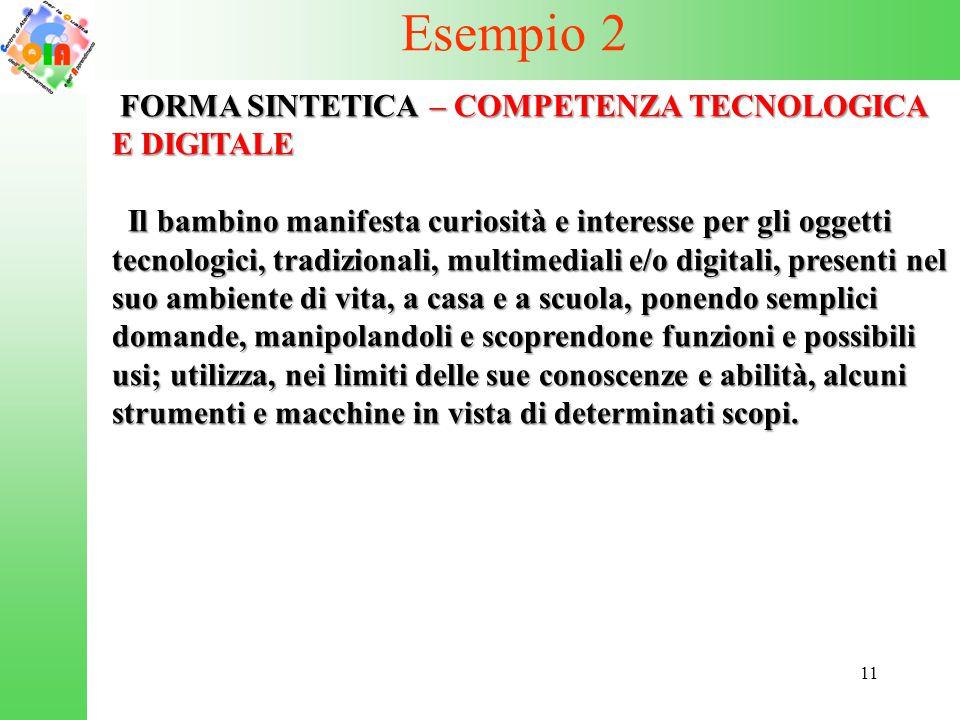 Esempio 2 FORMA SINTETICA – COMPETENZA TECNOLOGICA E DIGITALE