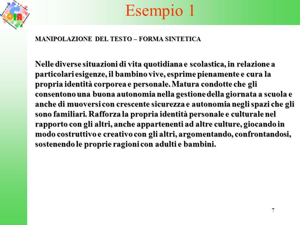 Esempio 1 MANIPOLAZIONE DEL TESTO – FORMA SINTETICA.