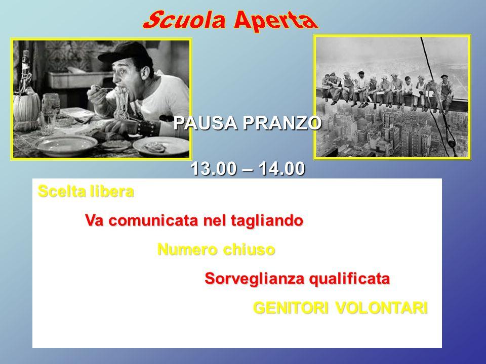Scuola Aperta PAUSA PRANZO 13.00 – 14.00 Scelta libera